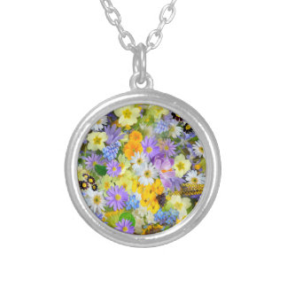 Pretty Spring Flowers Lush Colorful Bouquet Design Silver Plated Necklace