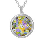 Pretty Spring Flowers Lush Colourful Bouquet Round Pendant Necklace