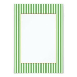 Pretty spring leaf green cabana stripe pattern 13 cm x 18 cm invitation card