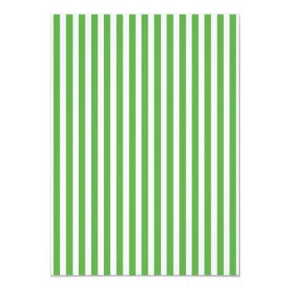 Pretty spring leaf green cabana stripe pattern 11 cm x 16 cm invitation card