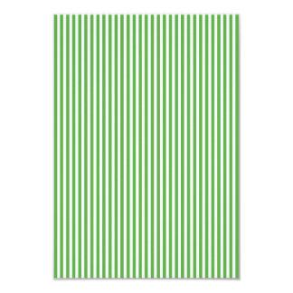 Pretty spring leaf green cabana stripe pattern 9 cm x 13 cm invitation card