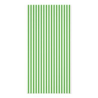Pretty spring leaf green cabana stripe pattern personalised photo card