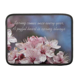 pretty spring pink cherry blossom in blue sky sleeves for MacBook air