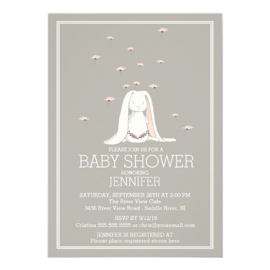 Pretty Spring Pink Girl Bunny Baby Shower Card