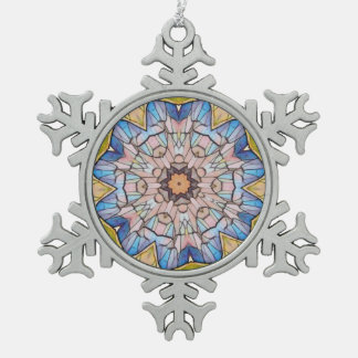 Pretty Stained Glass Blue Yellow Peach Design Pewter Snowflake Decoration