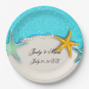 Pretty Starfish Summer Beach Paper Plate  sc 1 st  Zazzle : paper plate starfish - pezcame.com