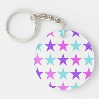 Pretty Stars Double-Sided Round Acrylic Key Ring