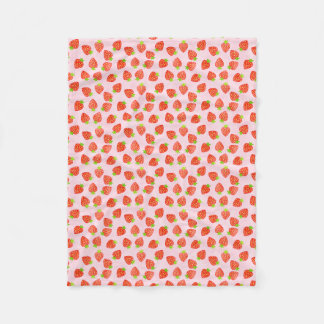 Pretty Strawberry Cream Pattern Fleece Blanket