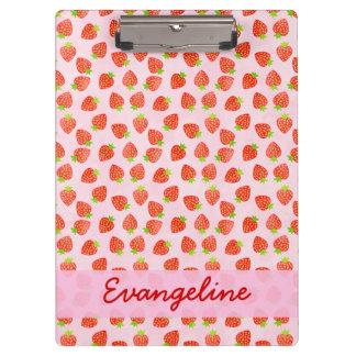Pretty Strawberry Cream Pattern Personalized Clipboard