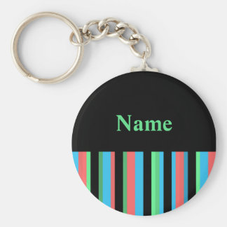 Pretty Striped Keychain Template - Green Text