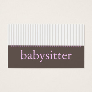 Pretty Stripes Babysitting Business Card