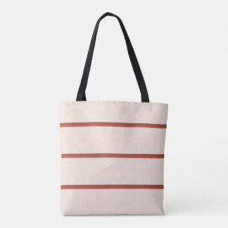 Pretty stripes in natural colors on pale pink tote bag