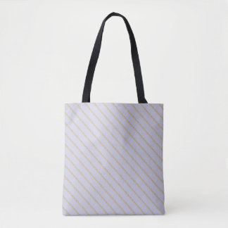 Pretty stripes natural colors on pale blue lilac tote bag