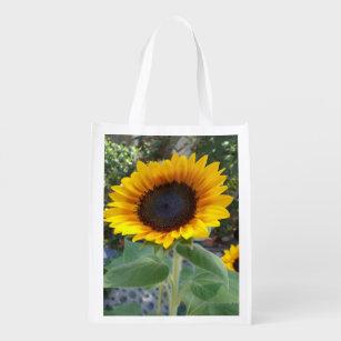 Pretty Sunflower Reusable Grocery Bag