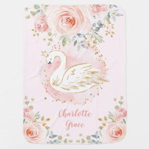 Pretty Swan Princess Pink Floral Girl Nursery Baby Blanket