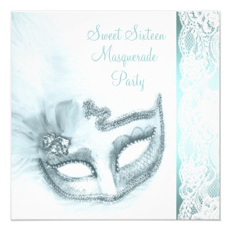 Pretty Sweet Sixteen Teal Blue Masquerade Party 13 Cm X 13 Cm Square Invitation Card