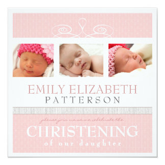 Pretty Swirl Photo Collage Christening Invitation