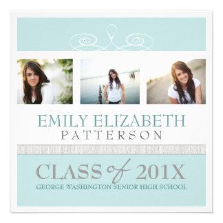 Pretty Swirl Photo Collage Graduation Invitation