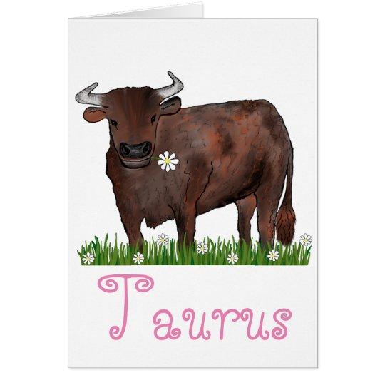 Pretty Taurus Bull And Daisies Zodiac Card
