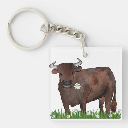 Pretty Taurus Bull And Daisies Zodiac Key Ring Double-Sided Square Acrylic Key Ring