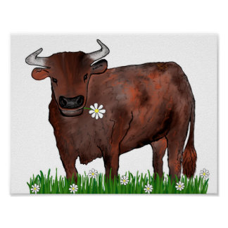 Pretty Taurus Bull And Daisies Zodiac Poster