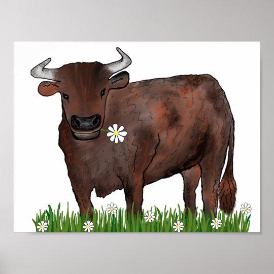 Pretty Taurus Bull And Daisies Zodiac Poster