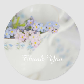 Pretty Tea Cup and Forget-me-nots Round Sticker