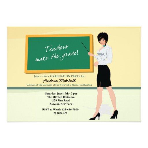 Pretty Teacher Graduation Invitation