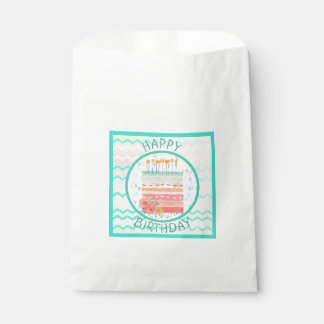 Pretty Teal and Coral Birthday Cake Favor Bags