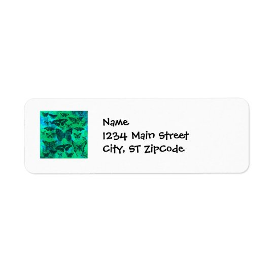 Pretty Teal and Green Butterflies Return Address Label