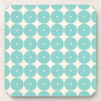 Pretty Teal Aqua Turquoise Blue Circles Discs Drink Coasters