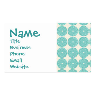 Pretty Teal Aqua Turquoise Blue Circles Disks Double-Sided Standard Business Cards (Pack Of 100)