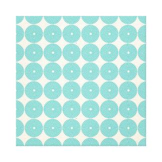 Pretty Teal Aqua Turquoise Blue Circles Disks Stretched Canvas Print