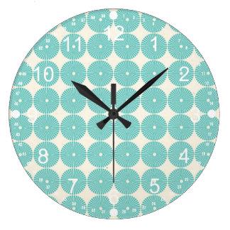 Pretty Teal Aqua Turquoise Blue Circles Disks Clock