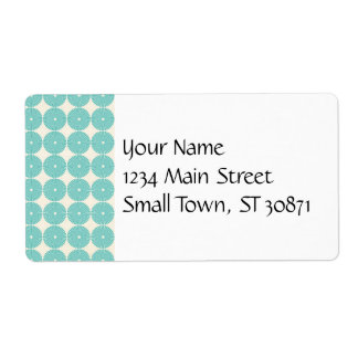 Pretty Teal Aqua Turquoise Blue Circles Disks Shipping Label