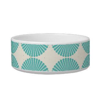 Pretty Teal Aqua Turquoise Blue Circles Disks Cat Food Bowls