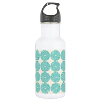 Pretty Teal Aqua Turquoise Blue Circles Disks 18oz Water Bottle
