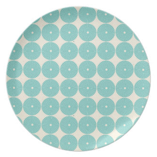 Pretty Teal Aqua Turquoise Blue Circles Disks Dinner Plate