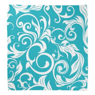 Pretty Teal Blue Floral Wallpaper Pattern Bandana