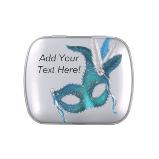 Pretty Teal Blue Masquerade Party Candy Candy Tin