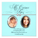 Pretty Teal Blue Photo Quinceanera Personalised Invite