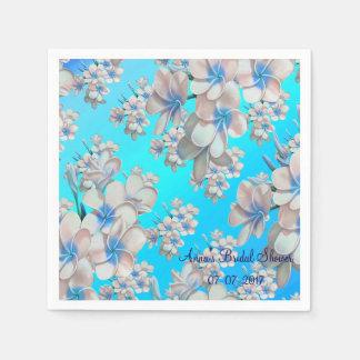 Pretty Teal Floral Bridal Shower Paper Napkins