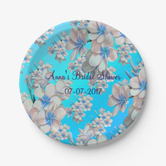 Pretty Teal Floral Bridal Shower Paper Plates 7 Inch Paper Plate