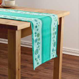 Pretty Teal Flowers Centerpiece & Stripes Short Table Runner