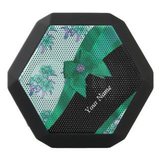 Pretty teal green  vintage floral pattern black bluetooth speaker