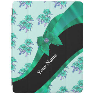 Pretty teal green  vintage floral pattern iPad cover