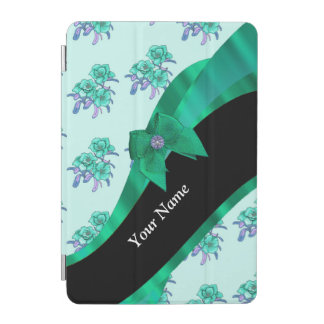 Pretty teal green  vintage floral pattern iPad mini cover