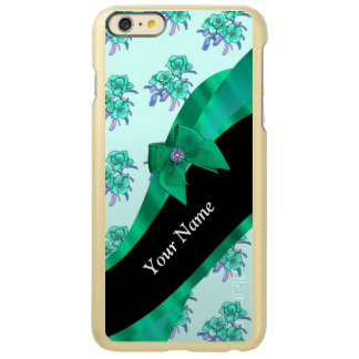 Pretty teal green vintage floral pattern iPhone 6 plus case