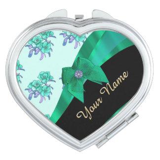 Pretty teal green  vintage floral pattern makeup mirror