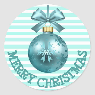 Pretty Teal Merry Christmas Ornament Stickers